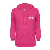 ENZA Ladies Hot Pink V Notch Raw Edge Fleece Hoodie-PHP
