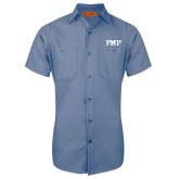 Red Kap Postman Blue Short Sleeve Industrial Work Shirt-PHP