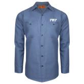 Red Kap Postman Blue Long Sleeve Industrial Work Shirt-PHP