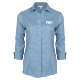 Ladies Red House Light Blue 3/4 Sleeve Shirt-PHP