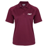 Ladies Maroon Textured Saddle Shoulder Polo-PHP