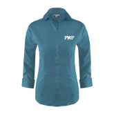 Ladies Red House Teal 3/4 Sleeve Shirt-PHP