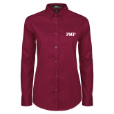 Ladies Maroon Twill Button Down Long Sleeve-PHP