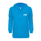ENZA Ladies Pacific Blue V Notch Raw Edge Fleece Hoodie-PHP