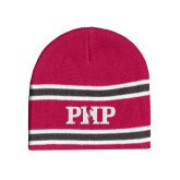 Pink/Charcoal/White Striped Knit Beanie-PHP
