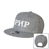 Heather Grey Wool Blend Flat Bill Snapback Hat-PHP