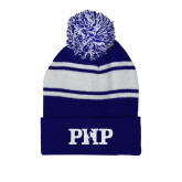 Royal/White Two Tone Knit Pom Beanie with Cuff-PHP