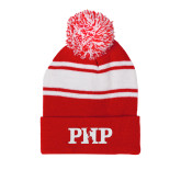 Red/White Two Tone Knit Pom Beanie with Cuff-PHP