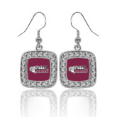 Crystal Studded Square Pendant Silver Dangle Earrings-PhilaU Rams