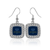 Philadelphia Crystal Studded Square Pendant Silver Dangle Earrings-Primary Mark