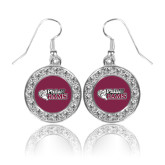 Crystal Studded Round Pendant Silver Dangle Earrings-PhilaU Rams