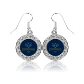Philadelphia Crystal Studded Round Pendant Silver Dangle Earrings-Primary Mark