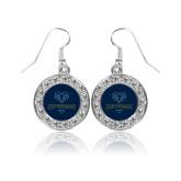 Philadelphia Crystal Studded Round Pendant Silver Dangle Earrings-Primary Mark