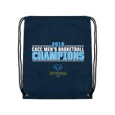 Navy Drawstring Backpack-2018 Mens Basketball Champions Stacked