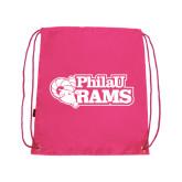 Pink Drawstring Backpack-PhilaU Rams