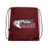 Maroon Drawstring Backpack-PhilaU Rams