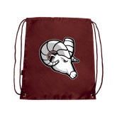 Maroon Drawstring Backpack-Ram Head