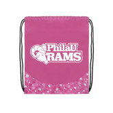 Nylon Pink Bubble Patterned Drawstring Backpack-PhilaU Rams