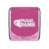 Nylon Zebra Pink/White Patterned Drawstring Backpack-PhilaU Rams