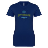 Philadelphia Next Level Ladies SoftStyle Junior Fitted Navy Tee-Lacrosse