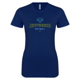 Philadelphia Next Level Ladies SoftStyle Junior Fitted Navy Tee-Softball
