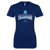 Next Level Ladies SoftStyle Junior Fitted Navy Tee-2018 Mens Basketball Champions