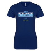 Next Level Ladies SoftStyle Junior Fitted Navy Tee-2018 Mens Basketball Champions Stacked