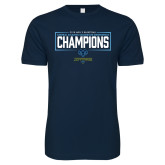 Next Level SoftStyle Navy T Shirt-2018 Mens Basketball Champions - Box