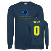 Philadelphia Navy Long Sleeve T Shirt-Primary Mark, Custom Tee w/ Name and #