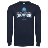 Navy Long Sleeve T Shirt-2018 Mens Basketball Champions