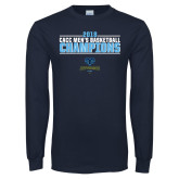 Navy Long Sleeve T Shirt-2018 Mens Basketball Champions Stacked