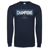 Navy Long Sleeve T Shirt-2018 Mens Basketball Champions - Box