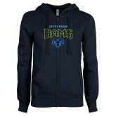 ENZA Ladies Navy Fleece Full Zip Hoodie-Jefferson Rams