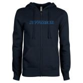 ENZA Ladies Navy Fleece Full Zip Hoodie-Jefferson