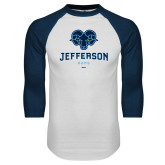 Philadelphia White/Navy Raglan Baseball T Shirt-Primary Mark