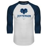 Philadelphia White/Navy Raglan Baseball T Shirt-Primary Mark