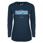 Ladies Syntrel Performance Navy Longsleeve Shirt-2018 Mens Basketball Champions Stacked