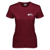 Ladies Maroon T Shirt-PhilaU Rams