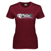 Ladies Maroon T Shirt-Formal Athletics Logo