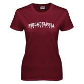 Ladies Maroon T Shirt-Arched Philadelphia University