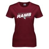 Ladies Maroon T Shirt-Slanted Rams Stencil w/ Logo