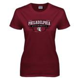 Ladies Maroon T Shirt-Philadelphia University Arched Shield