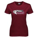 Ladies Maroon T Shirt-PhilaU Rams Distressed