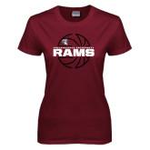 Ladies Maroon T Shirt-Rams Basketball Lined Ball