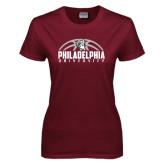 Ladies Maroon T Shirt-Philadelphia University Basketball Half Ball