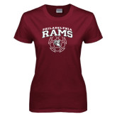 Ladies Maroon T Shirt-Philadelphia Rams Soccer Geometric Ball