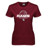 Ladies Maroon T Shirt-Rams Volleyball Stacked