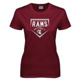 Ladies Maroon T Shirt-Philadelphia Rams Softball Plate Design