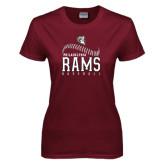 Ladies Maroon T Shirt-Philadelphia Rams Baseball Seam Design