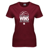 Ladies Maroon T Shirt-One Thousand Wins